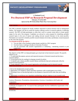 """Pre-Doctoral FDP on research Proposal Development"" Date"
