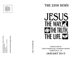 THE ZION NEWS - Zion Evangelical Lutheran Church