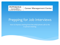 Job Interviews - Graziadio School of Business and Management