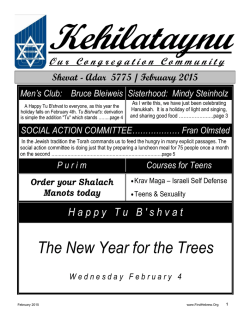 February Newsletter - First Hebrew Congregation