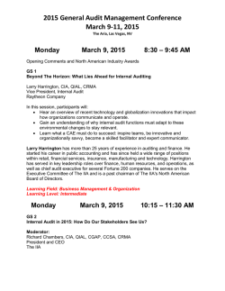 2015 General Audit Management Conference March 9