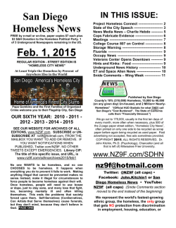 Feb. 1 edition of the San Diego Homeless News