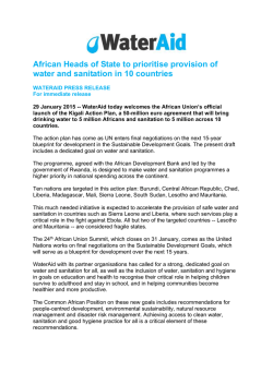 African Heads of State to prioritise provision of water and