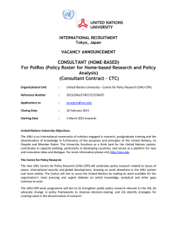 Consultant Contract – CTC - United Nations University