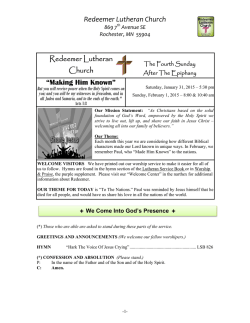 Bulletin for 2-1-2015 The Fourth Sunday After the Epiphany