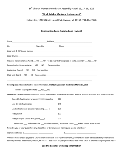 CWU MI 86th Assembly registration form for 86th Church Women