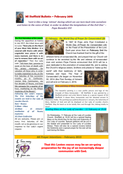 MI Sheffield Bulletin – February 2015 MI Prayer Intentions