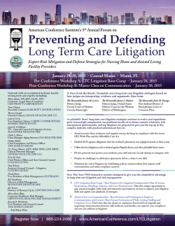 Preventing and Defending Long Term Care Litigation
