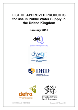 List of Approved Products - Drinking Water Inspectorate