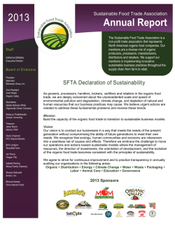 SFTA 2013 Annual Report - Sustainable Food Trade Association