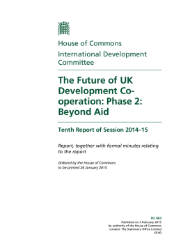 The Future of UK Development Co-operation: Phase 2: Beyond Aid
