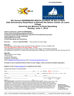 Mail in Entry Form - Kennebunk Beach Classic
