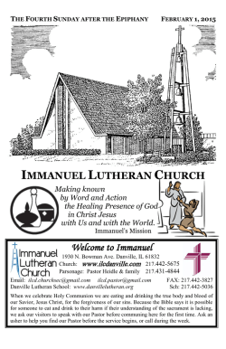 Download Service for Feb. 1 - Immanuel Lutheran Church • Danville