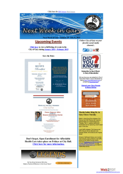 Next Week in Gary Newsletter