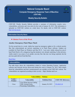 CERT-MU Security Bulletin for the week of 26, January 2015
