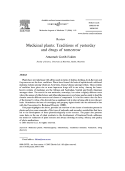 Medicinal plants: Traditions of yesterday and drugs