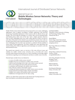 International Journal of Distributed Sensor Networks Special Issue