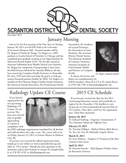 SDDS December Newsletter 2014 - Scranton District Dental Society