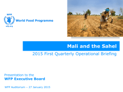 Mali and the Sahel - WFP Remote Access Secure Services