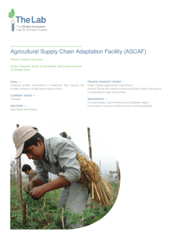 Agricultural Supply Chain Adaptation Facility