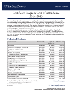 Cost of Attendance - UC San Diego Extension