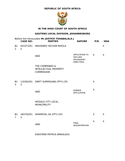 REPUBLIC OF SOUTH AFRICA IN THE HIGH COURT OF SOUTH
