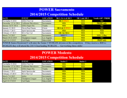 POWER Sacramento 2014/2015 Competition Schedule POWER