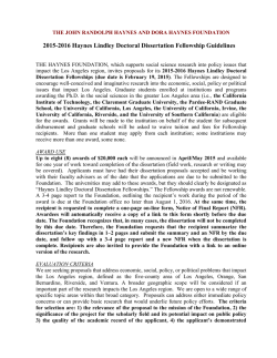 Haynes Lindley Doctoral Dissertation Guidelines