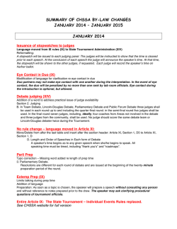 summary of chssa by-law changes january 2014 – january 2015