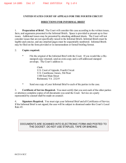 Informal Briefing Form for Pro Se Appeals from District