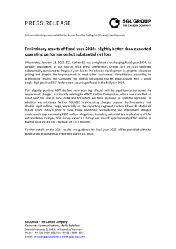 Preliminary results of fiscal year 2014