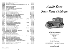 Austin Seven Spare Parts Catalogue