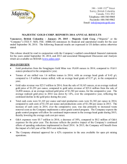 MAJESTIC GOLD CORP. REPORTS 2014 ANNUAL RESULTS