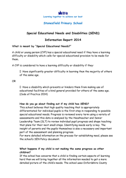 Stonesfield Primary School Special Educational Needs and