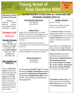 Weekly Announcements - Young Israel of Kew Gardens HIlls