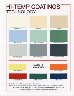 Hi-Temp Coatings Color Card - Pacific Southwest Coatings
