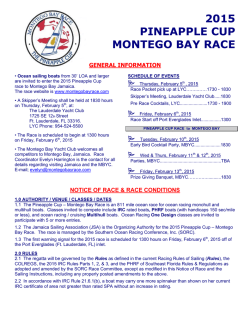 Notice of Race - Montego Bay Race
