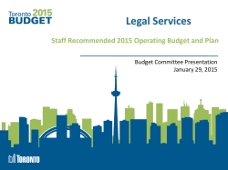2015 Budget Presentation - Legal Services on Staff