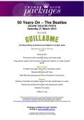 50 Years On - The Beatles Menus