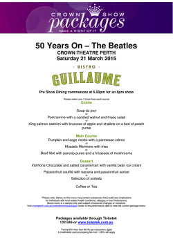 50 Years On - The Beatles Menus
