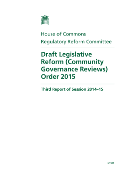 Draft Legislative Reform (Community Governance Reviews)