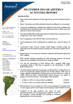 30 Jan 2015 - Avanco Resources Website