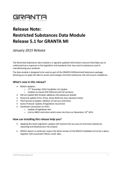 Restricted Substances Data Module Release 5.1 for GRANTA MI