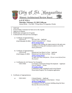Agenda - City of St. Augustine