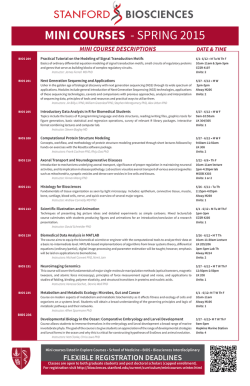 Spring Mini-Course Flyer - Stanford Biosciences PhD Programs