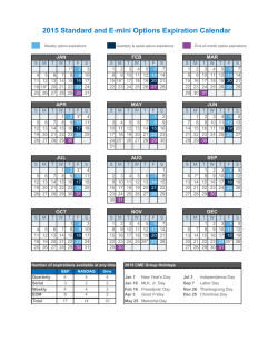 2015 Standard and E-mini Options Expiration Calendar