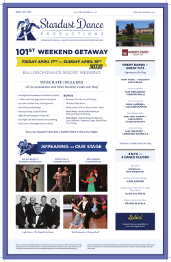 WEEKEND GETAWAY 2015 - Stardust Dance Productions