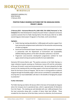 Horizonte Minerals plc / Index: AIM and TSX / Epic: HZM / Sector