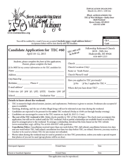 Candidate Application for TEC #60