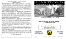 Weekly Bulletin - Hartford Memorial Baptist Church